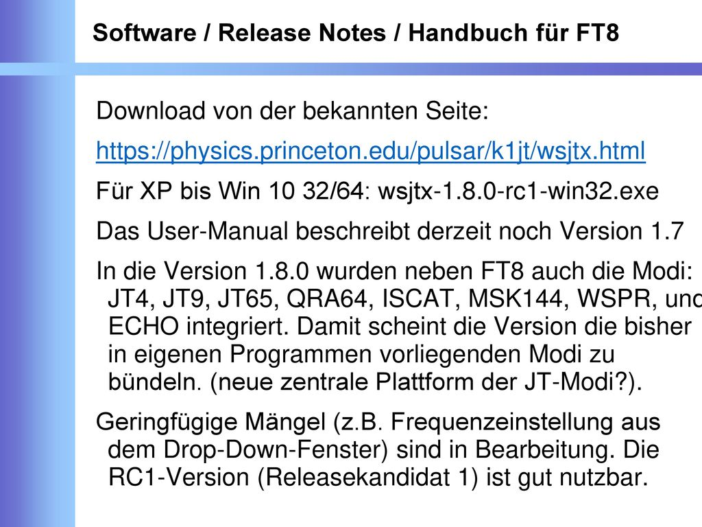 Software / Release Notes / Handbuch für FT8
