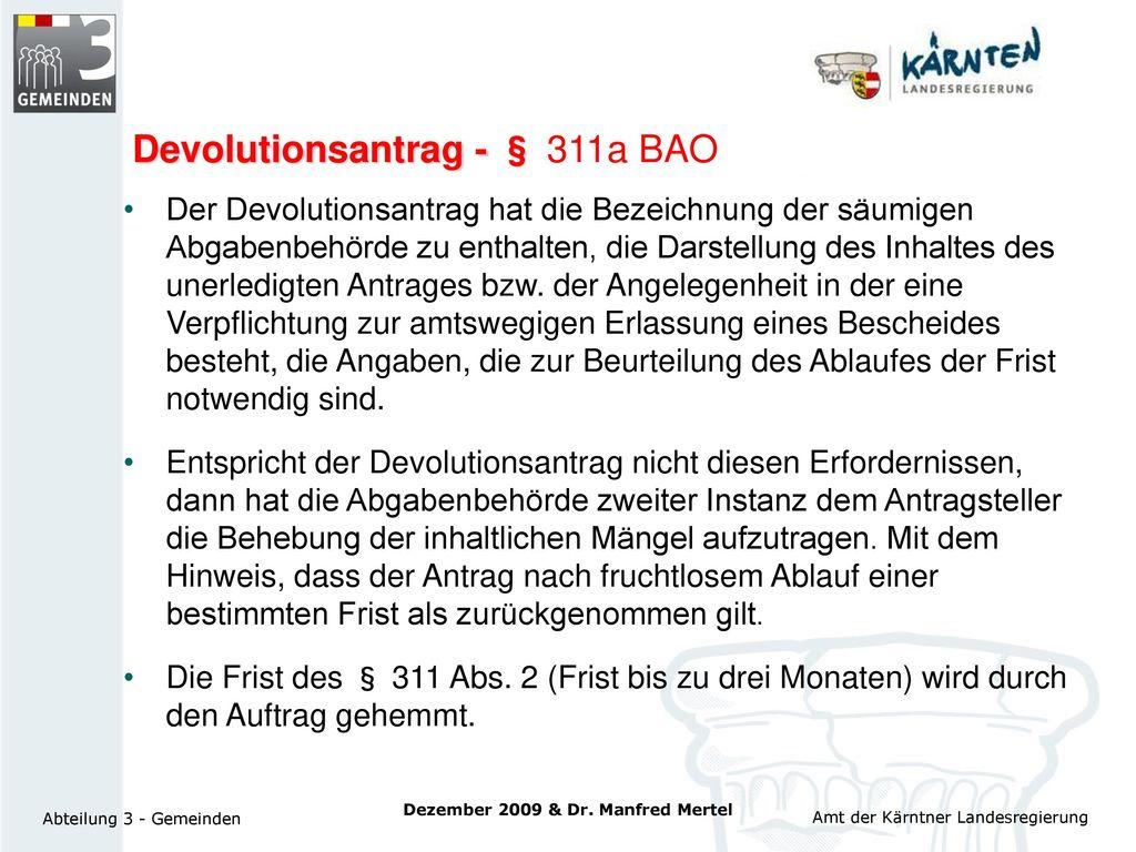 Devolutionsantrag - § 311a BAO