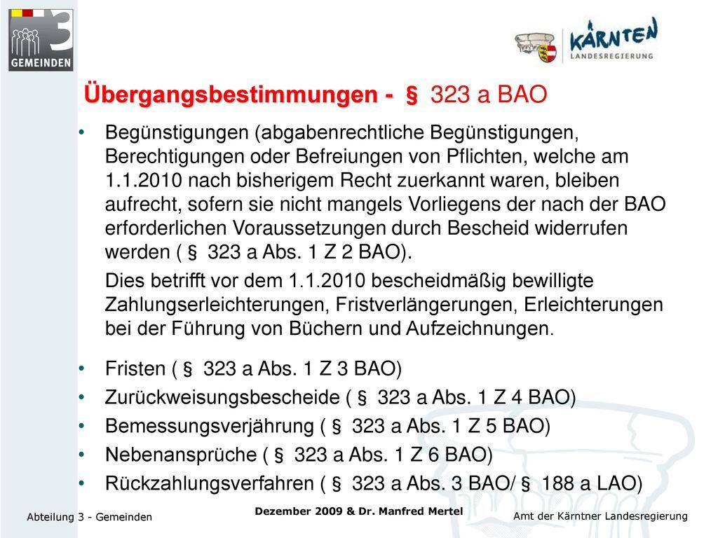 Übergangsbestimmungen - § 323 a BAO