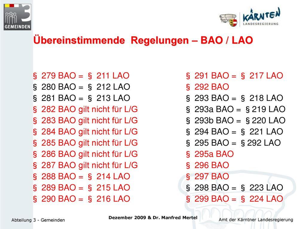 Übereinstimmende Regelungen – BAO / LAO