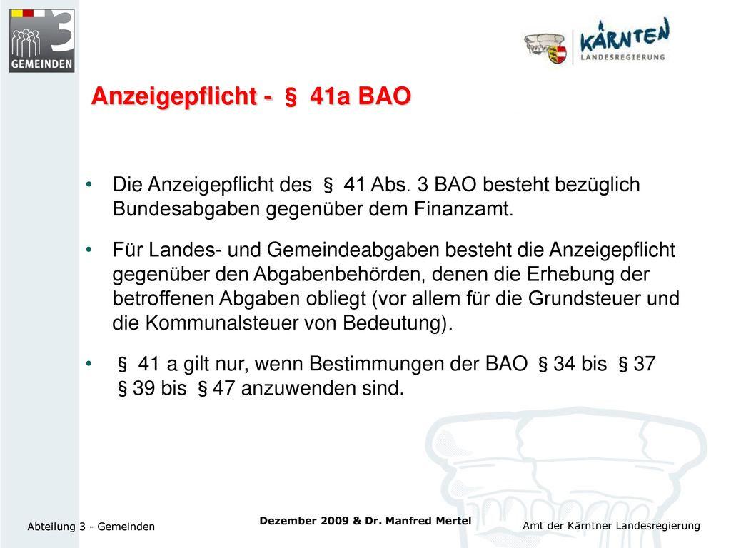 Anzeigepflicht - § 41a BAO