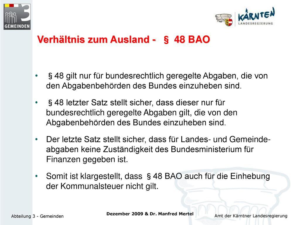 Verhältnis zum Ausland - § 48 BAO