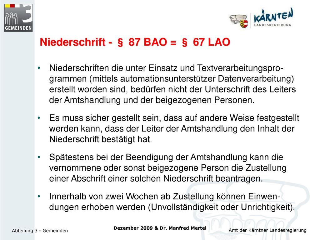 Niederschrift - § 87 BAO = § 67 LAO