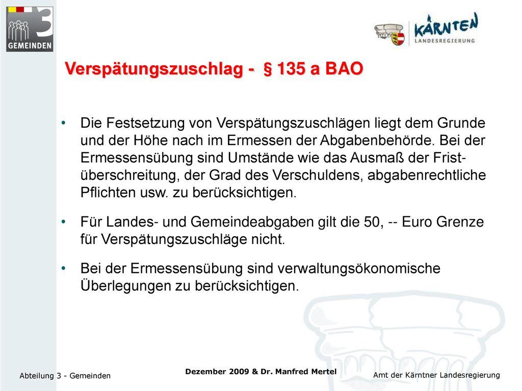 Verspätungszuschlag - §135 a BAO