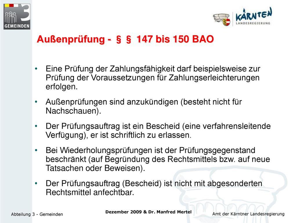 Außenprüfung - §§ 147 bis 150 BAO