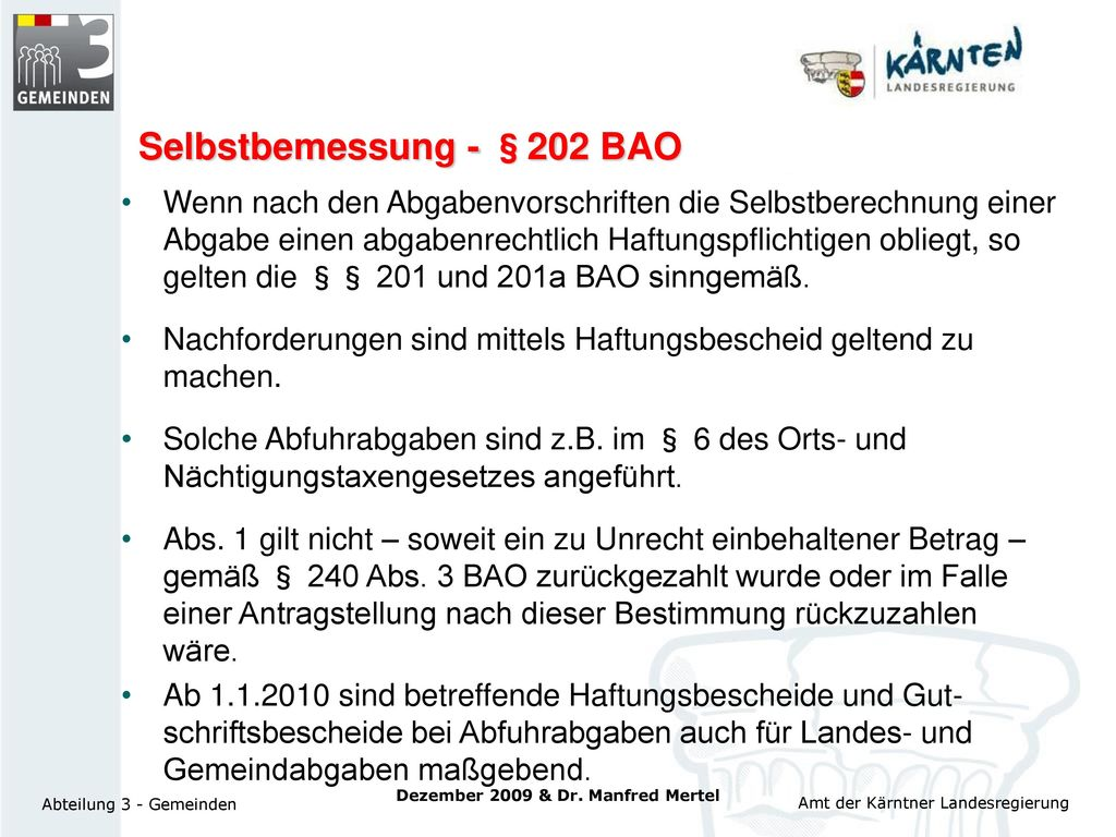Selbstbemessung - §202 BAO