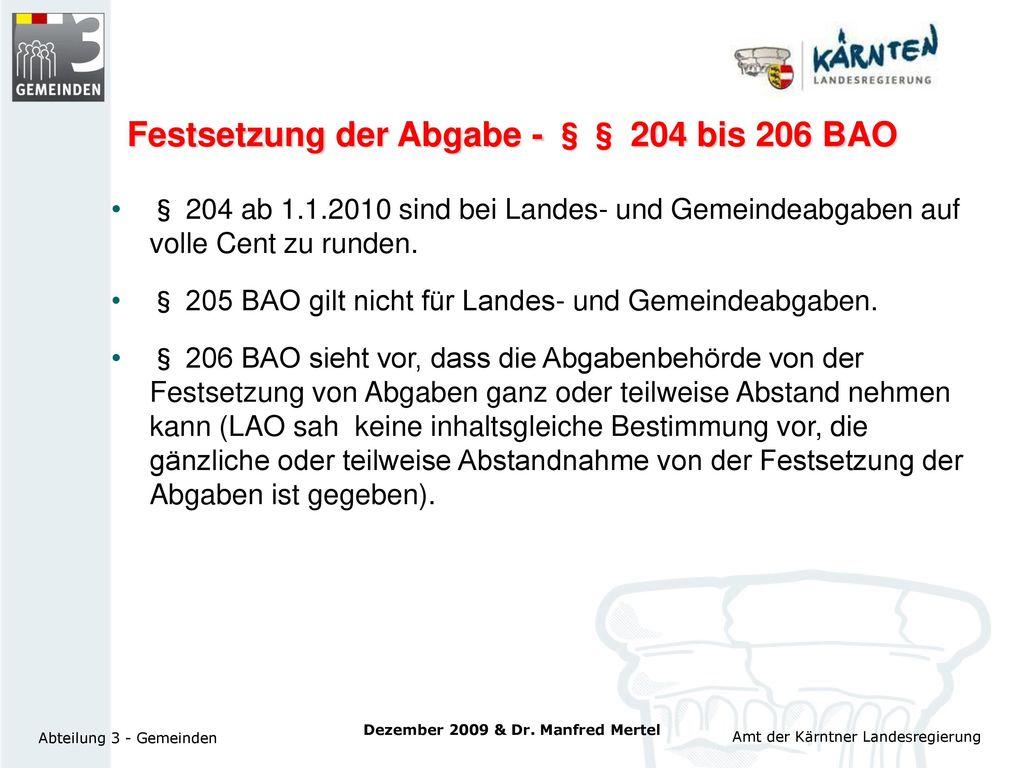 Festsetzung der Abgabe - §§ 204 bis 206 BAO