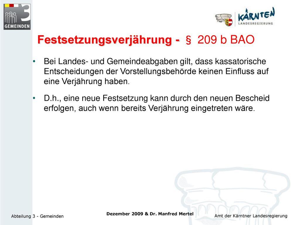 Festsetzungsverjährung - § 209 b BAO