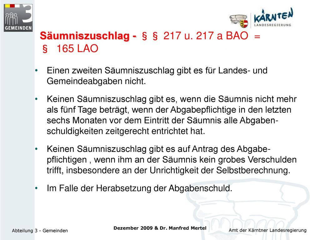 Säumniszuschlag - §§ 217 u. 217 a BAO = § 165 LAO