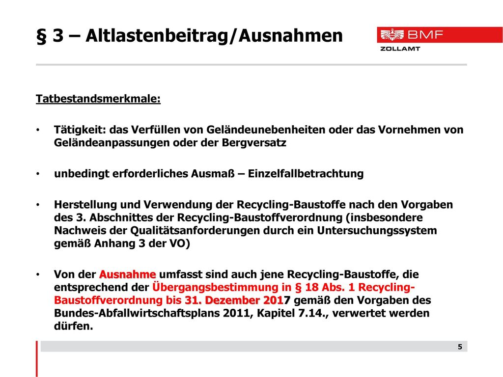 § 3 – Altlastenbeitrag/Ausnahmen