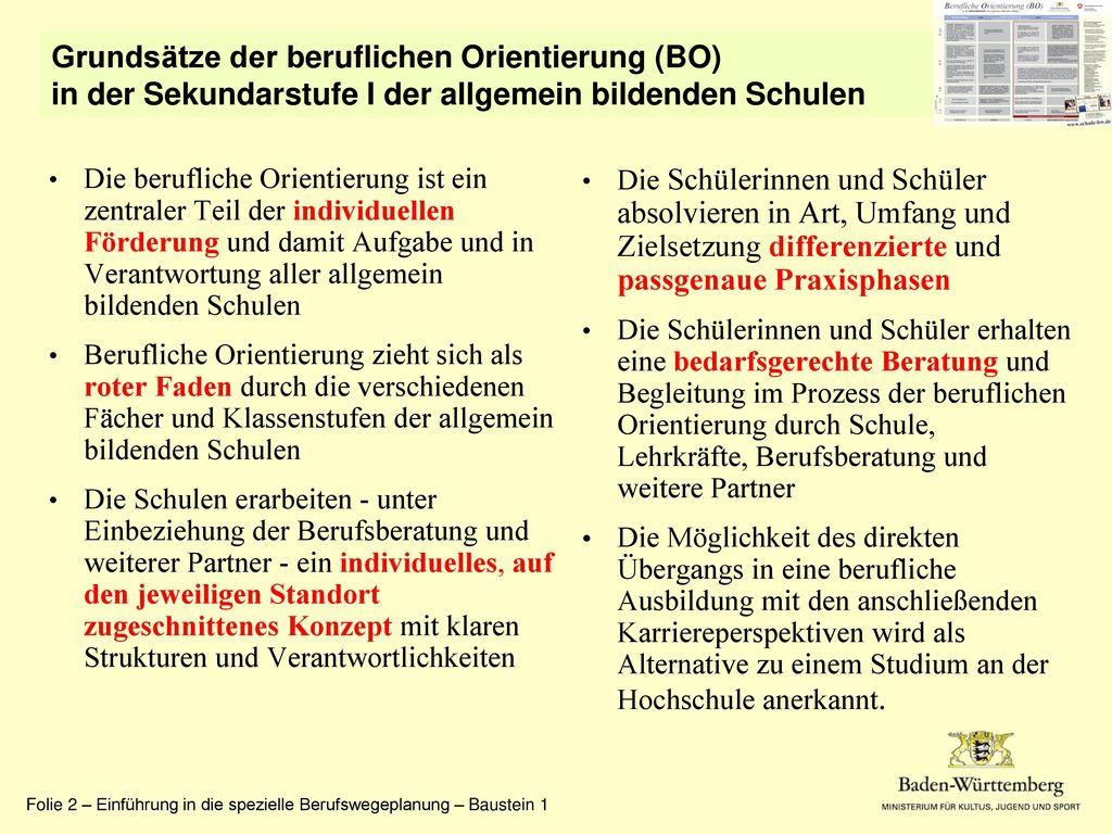 Grundsätze der beruflichen Orientierung (BO)