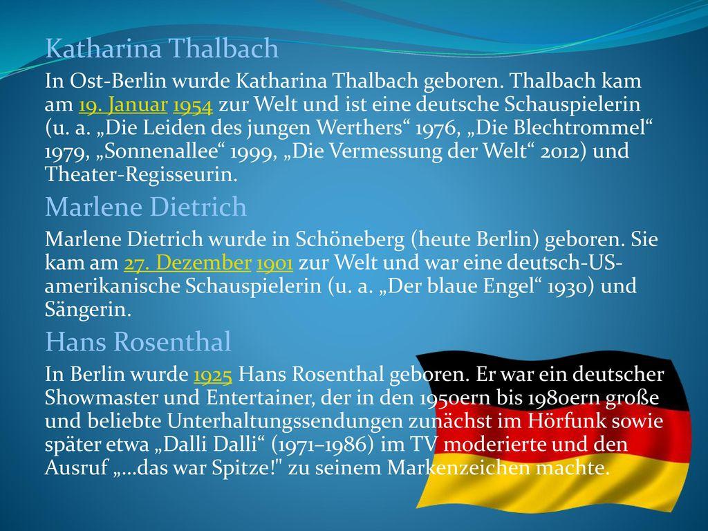 Katharina Thalbach Marlene Dietrich Hans Rosenthal