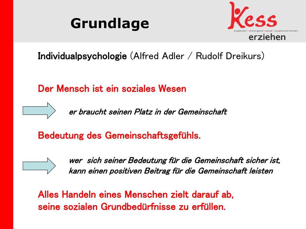 Grundlage Individualpsychologie (Alfred Adler / Rudolf Dreikurs)