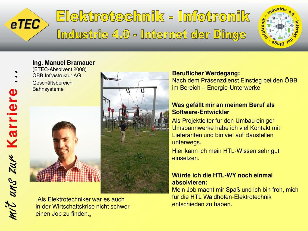 Ing. Manuel Bramauer (ETEC-Absolvent 2008) ÖBB Infrastruktur AG