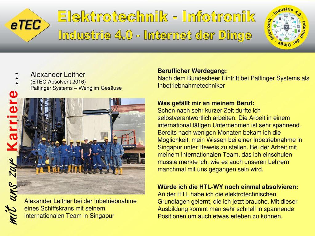 Beruflicher Werdegang: Nach dem Bundesheer Eintritt bei Palfinger Systems als Inbetriebnahmetechniker