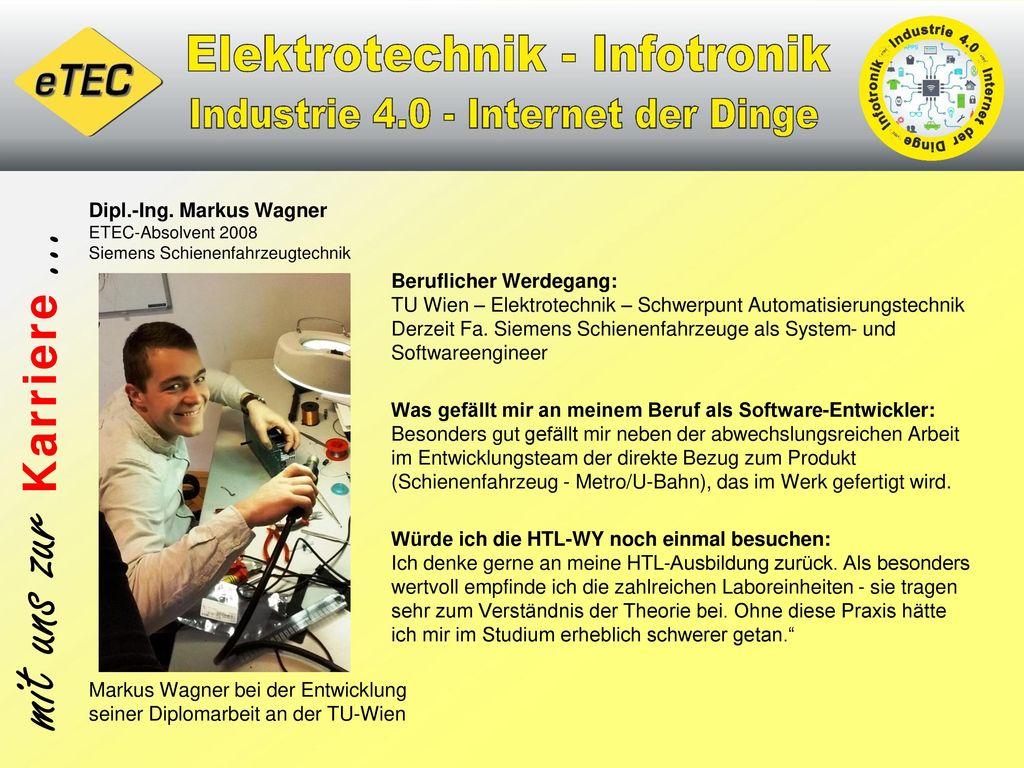 Dipl.-Ing. Markus Wagner ETEC-Absolvent 2008 Siemens Schienenfahrzeugtechnik