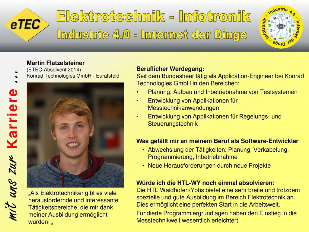 Martin Flatzelsteiner (ETEC-Absolvent 2014) Konrad Technologies GmbH - Euratsfeld