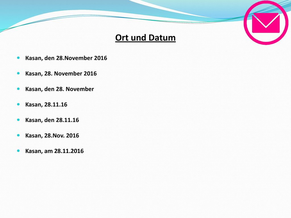 Ort und Datum Каsan, den 28.November 2016 Kasan, 28. November 2016