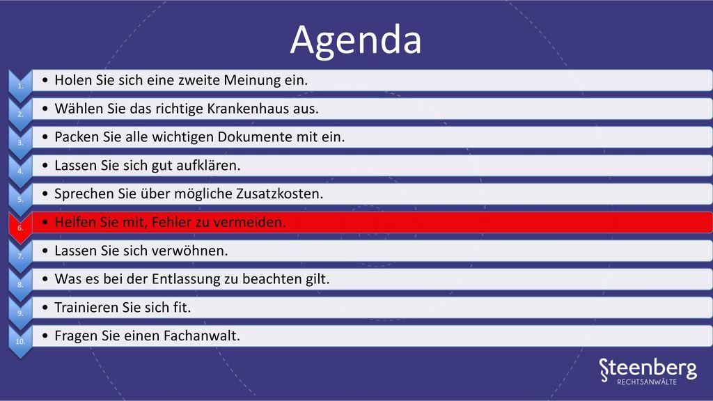 Agenda Holen Sie sich eine zweite Meinung ein.