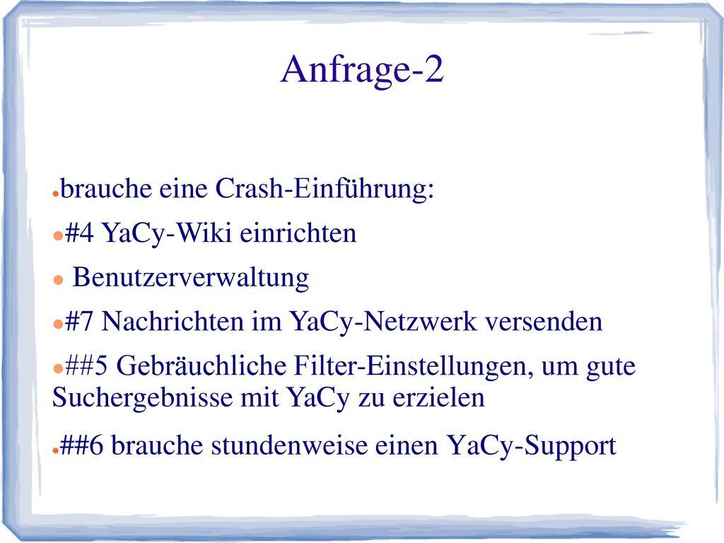 Anfrage-2 brauche eine Crash-Einführung: #4 YaCy-Wiki einrichten