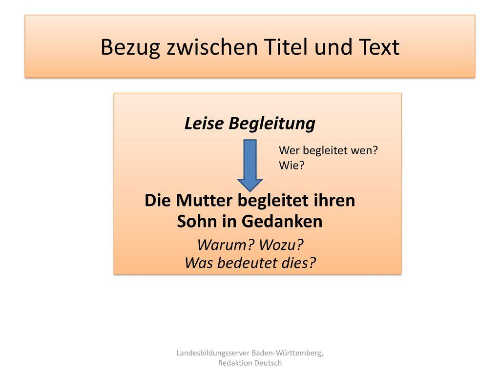Bezug zwischen Titel und Text