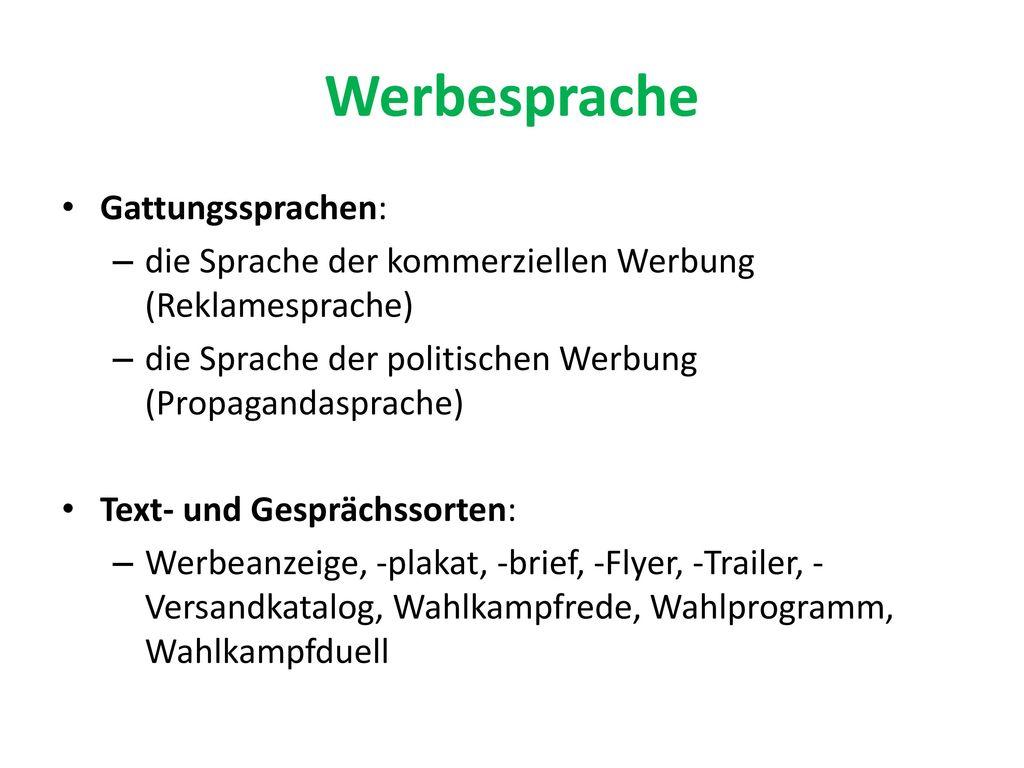 Werbesprache Gattungssprachen: