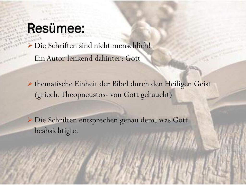 Resümee: Die Schriften sind nicht menschlich!