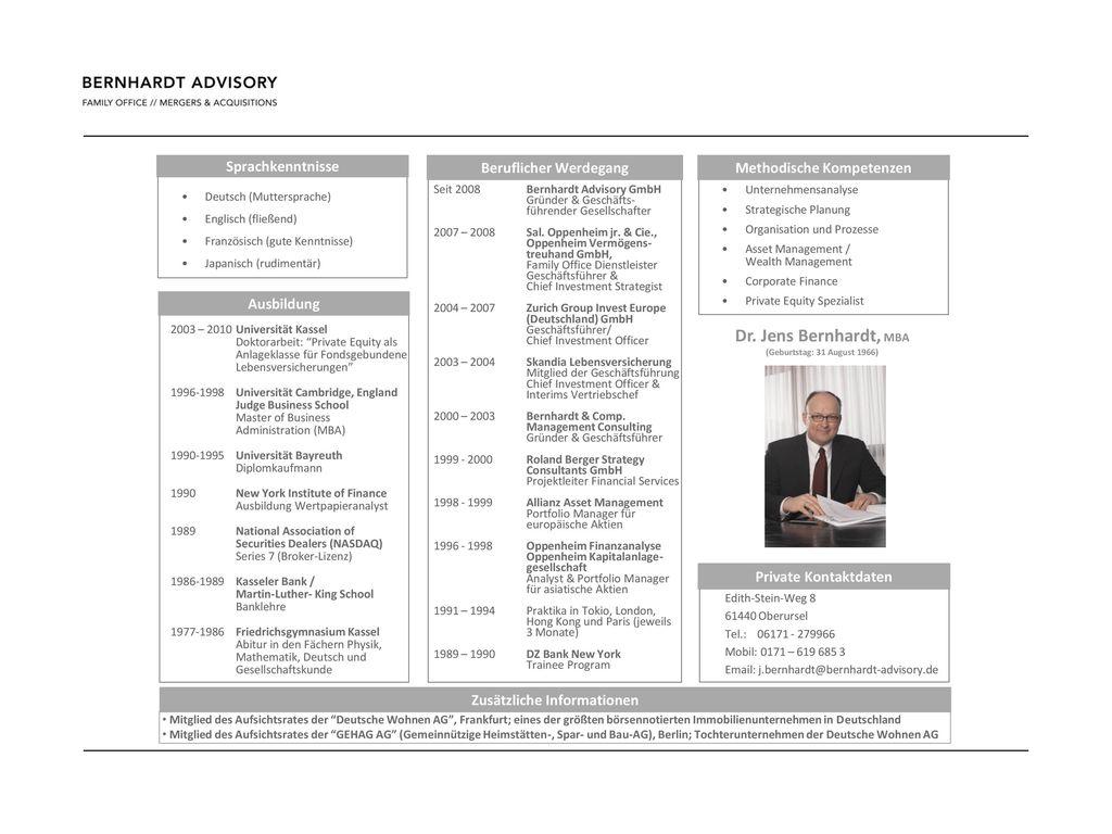Dr. Jens Bernhardt, MBA Sprachkenntnisse Beruflicher Werdegang