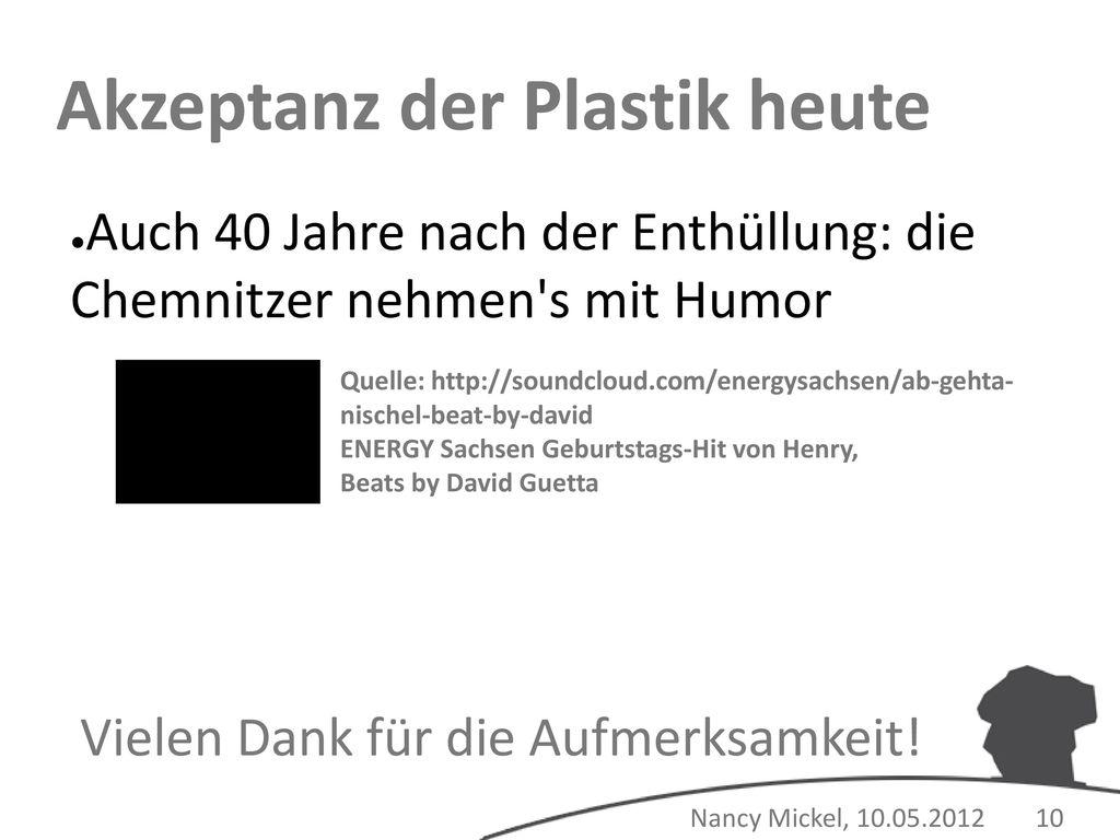 Akzeptanz der Plastik heute