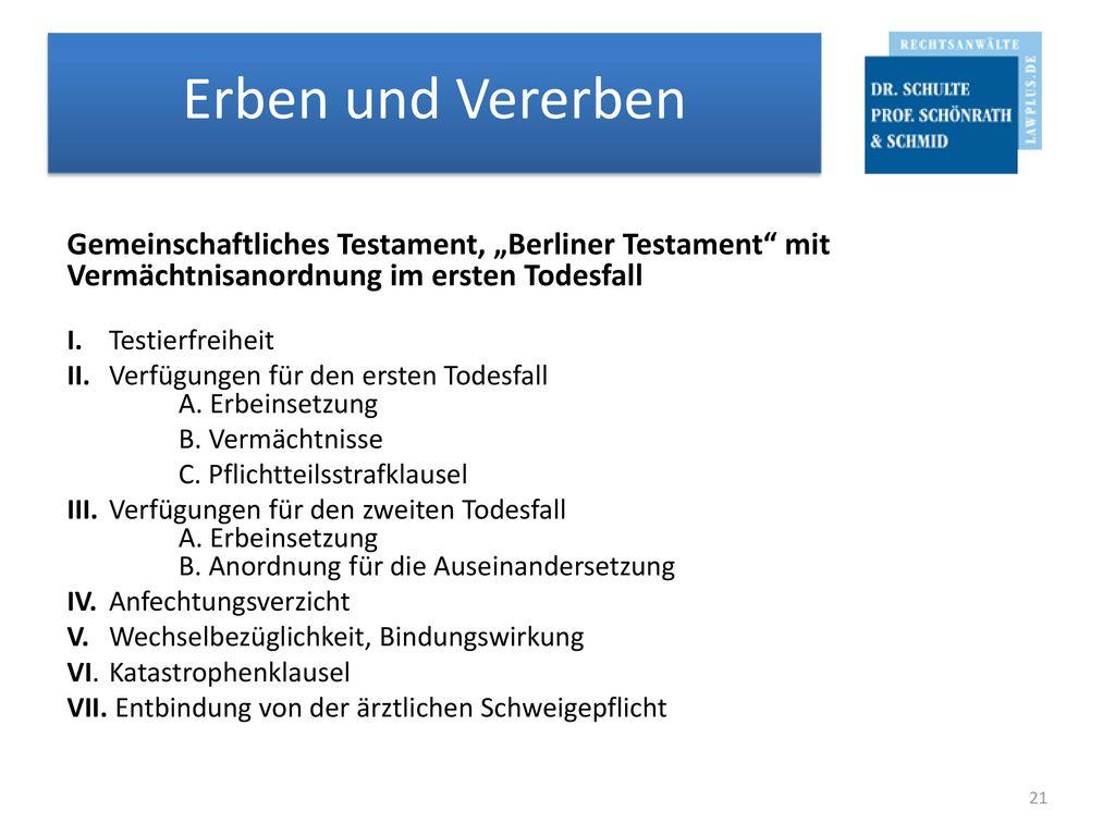 """Gemeinschaftliches Testament, """"Berliner Testament mit Vermächtnisanordnung im ersten Todesfall"""