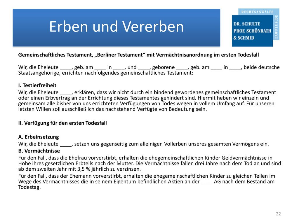 """Gemeinschaftliches Testament, """"Berliner Testament mit Vermächtnisanordnung im ersten Todesfall Wir, die Eheleute ____, geb."""