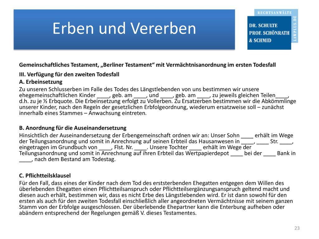 """Gemeinschaftliches Testament, """"Berliner Testament mit Vermächtnisanordnung im ersten Todesfall III."""