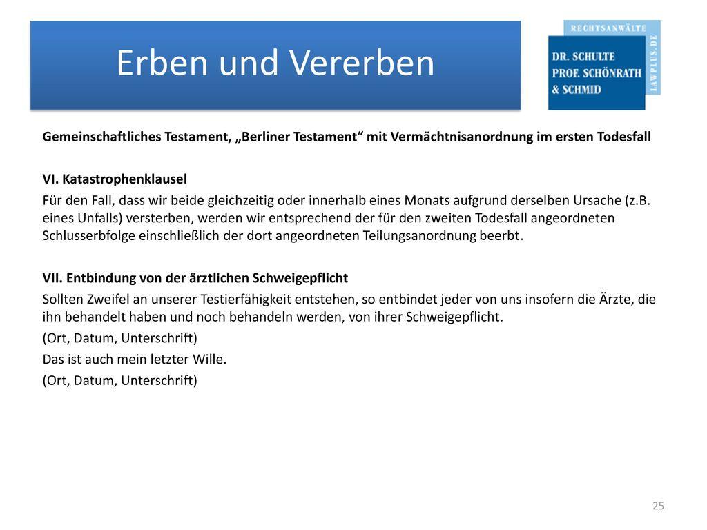 """Gemeinschaftliches Testament, """"Berliner Testament mit Vermächtnisanordnung im ersten Todesfall VI."""