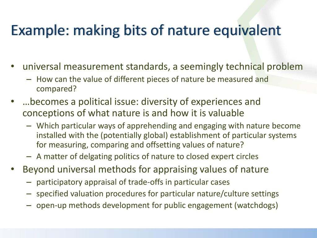 Example: making bits of nature equivalent