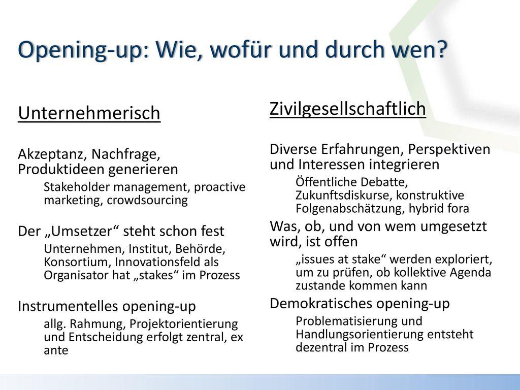 Opening-up: Wie, wofür und durch wen