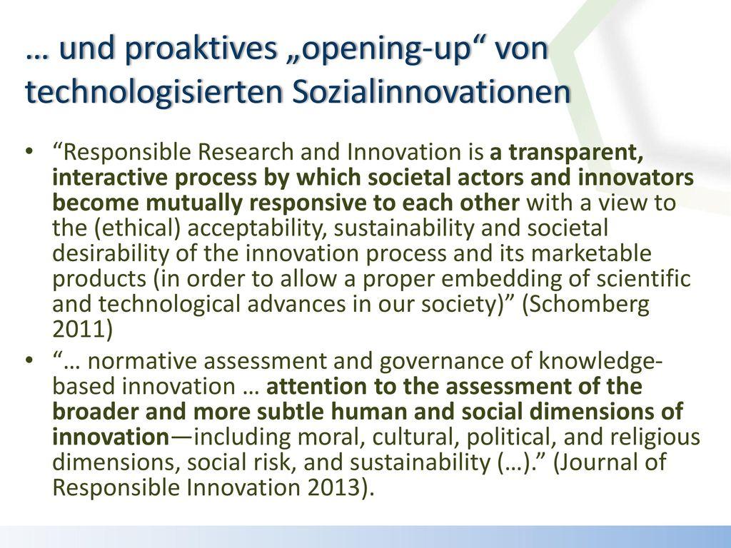 """… und proaktives """"opening-up von technologisierten Sozialinnovationen"""