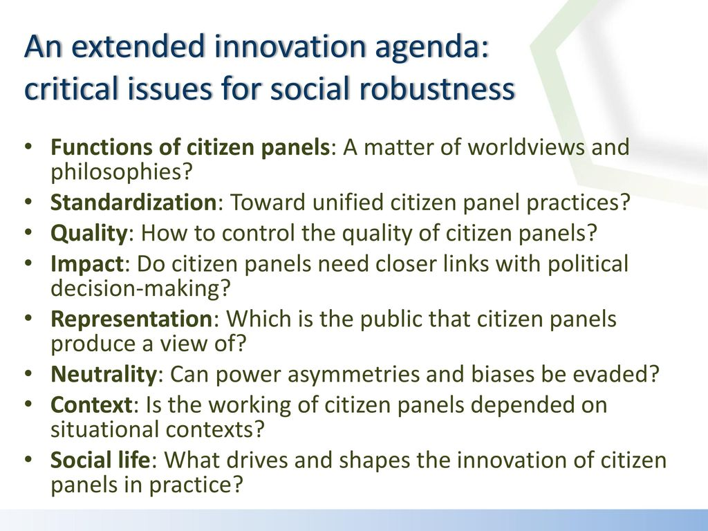 An extended innovation agenda: critical issues for social robustness