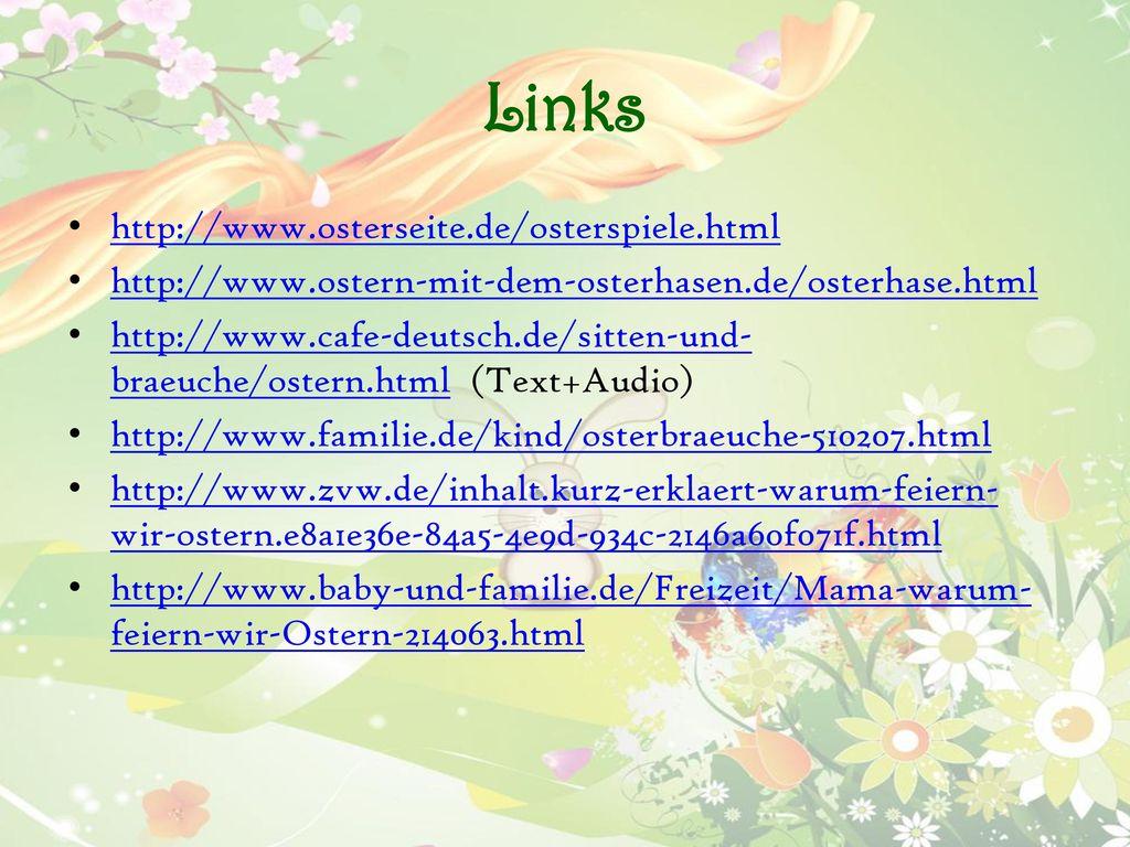 Links http://www.osterseite.de/osterspiele.html