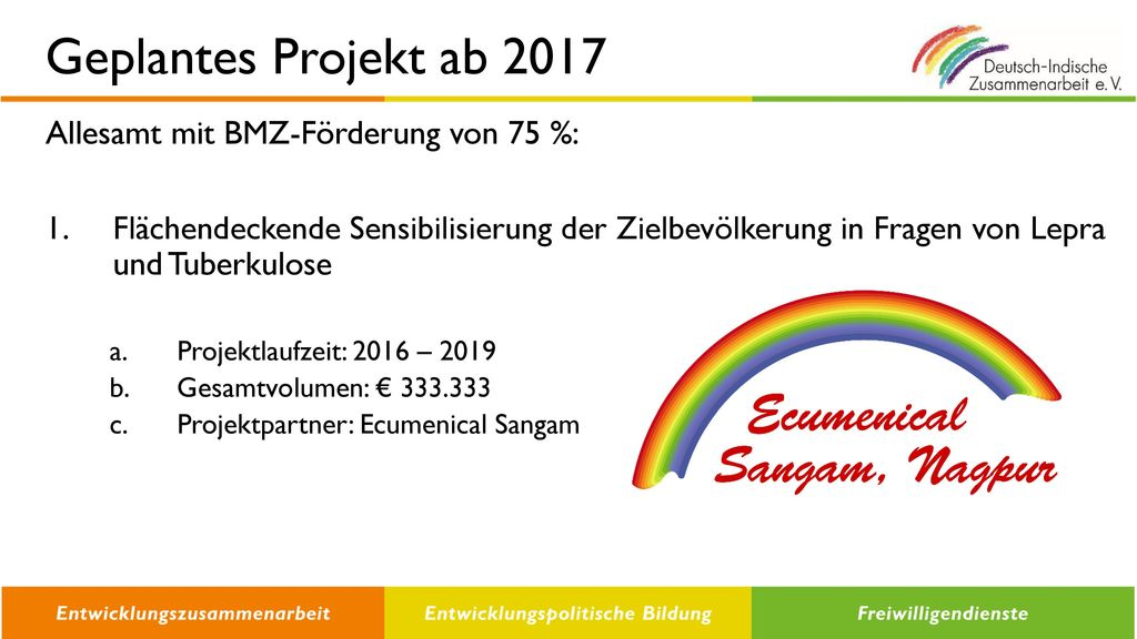 Geplantes Projekt ab 2017 Allesamt mit BMZ-Förderung von 75 %: