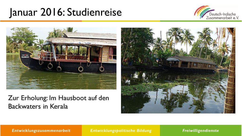 Januar 2016: Studienreise Zur Erholung: Im Hausboot auf den Backwaters in Kerala