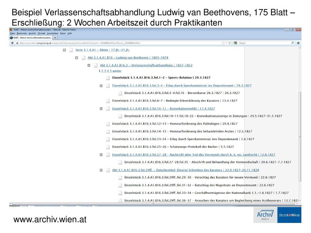 Beispiel Verlassenschaftsabhandlung Ludwig van Beethovens, 175 Blatt –