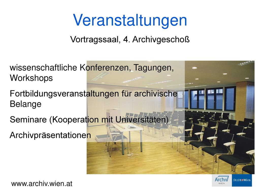 Vortragssaal, 4. Archivgeschoß