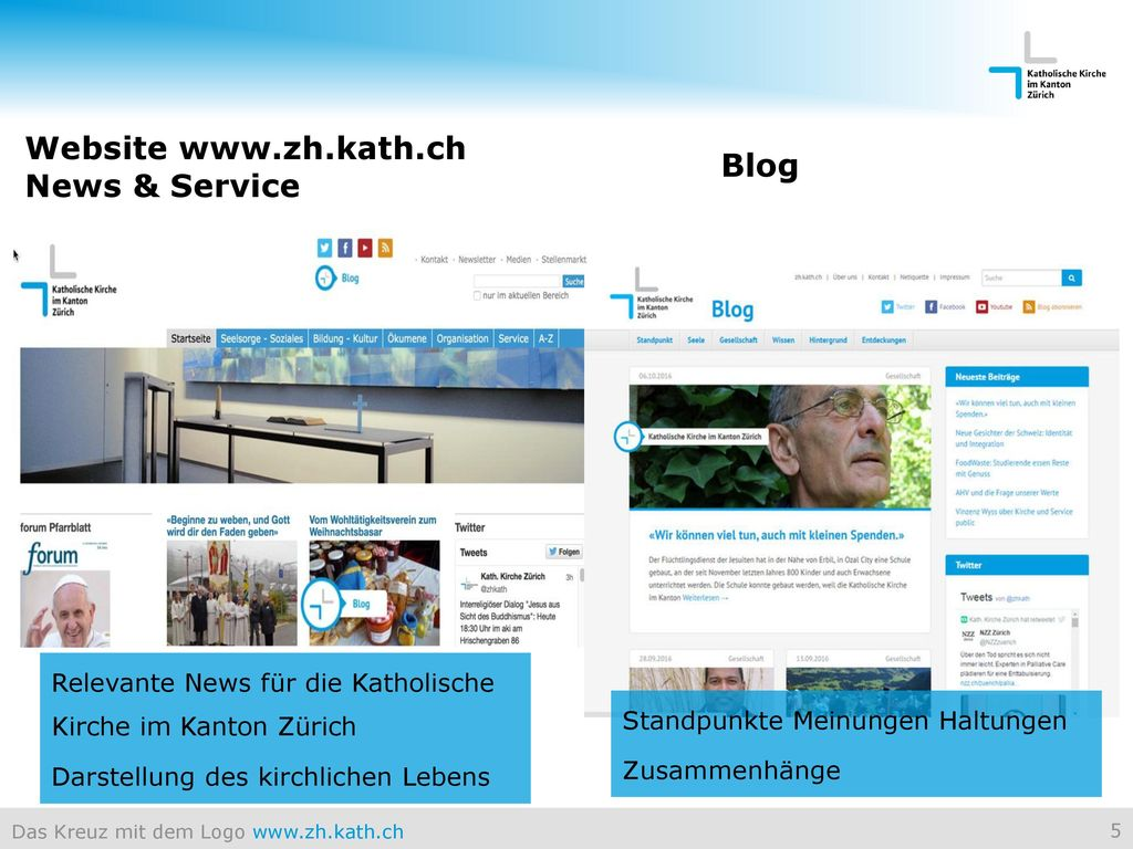 Website www.zh.kath.ch News & Service