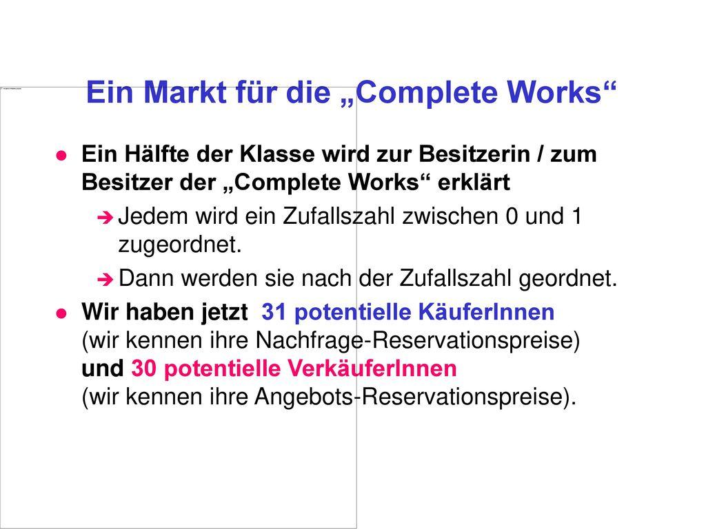 """Ein Markt für die """"Complete Works"""