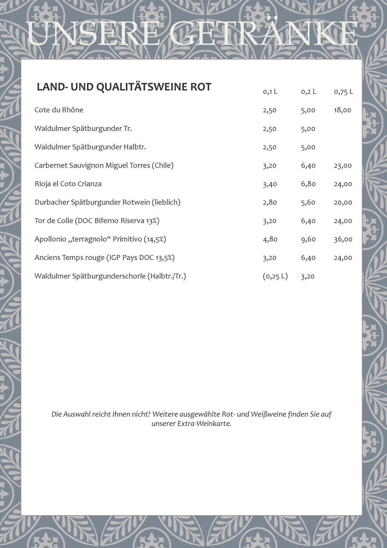 UNSERE GETRÄNKE LAND- UND QUALITÄTSWEINE ROT 0,1 L 0,2 L 0,75 L