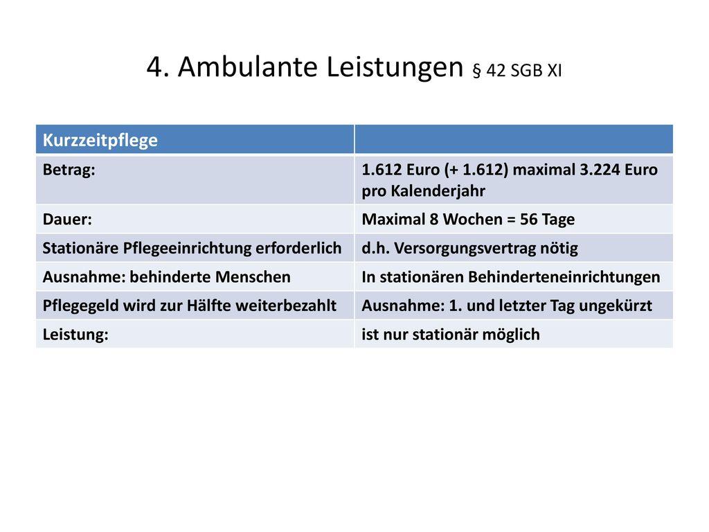 4. Ambulante Leistungen § 42 SGB XI
