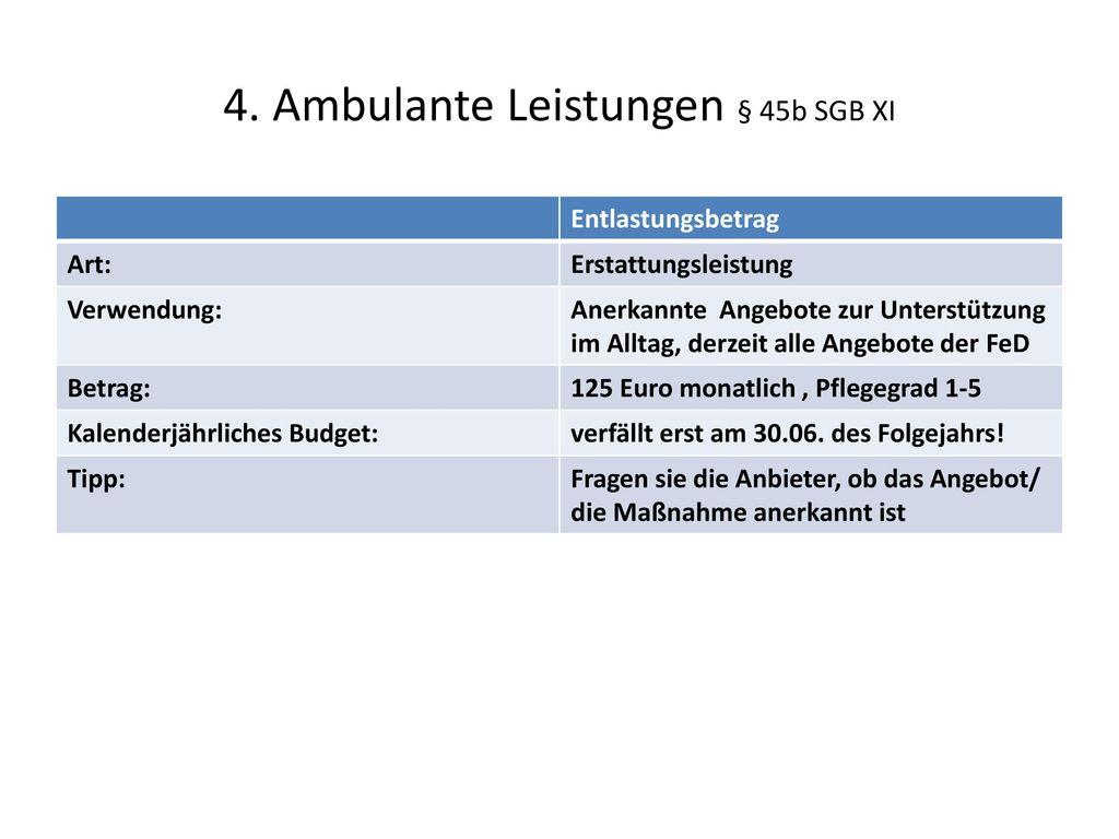 4. Ambulante Leistungen § 45b SGB XI