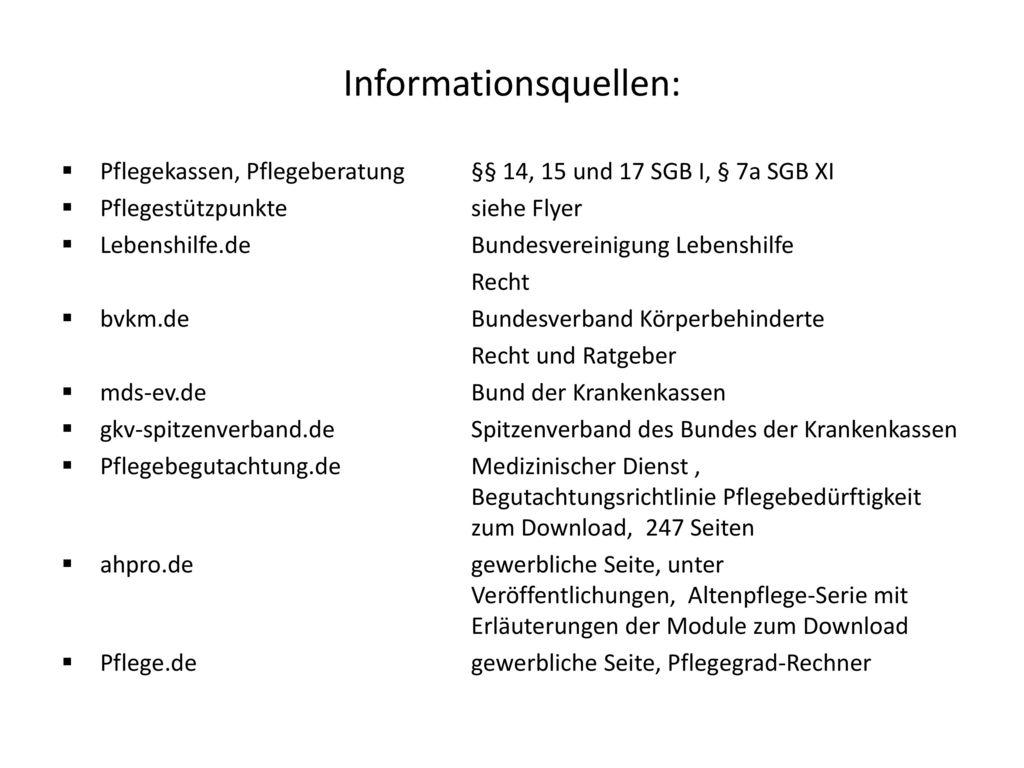 Informationsquellen: