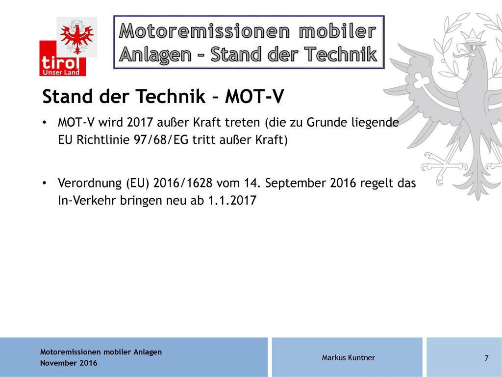 Motoremissionen mobiler Anlagen – Stand der Technik