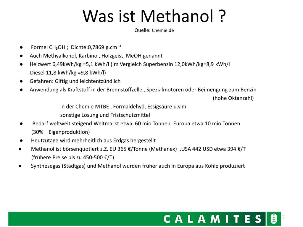 Was ist Methanol Quelle: Chemie.de